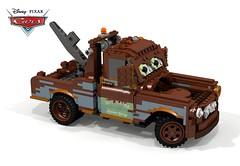 Disney Pixar Cars - Mater (Redo) (lego911) Tags: disney pixar cars mater redo pickup truck tow towtruck international harvester 1958 1950s classic auto car moc model miniland lego lego911 ldd render cad povray film movie animated lugnuts challenge 116 pickupsandvans pickups vans rusty rust radiator springs