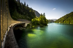 Like an emerald (Toukensmash) Tags: emerald lake green blue sony alpha58 sigma1020 austria österreich salzkammergut salzastausee grimming bad mitterndorf bridge water swimming landscape mountains leafs styria steiermark jumping reservoir hiking summer cooling biking