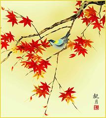 Great tit (Japanese Flower and Bird Art) Tags: bird great tit parus major paridae kangetsu moriyama nihonga shikishi japan japanese art readercollection