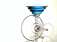 Blue & White (Karen_Chappell) Tags: blue white glass glasses liquid stilllife two 2 shape lines circle