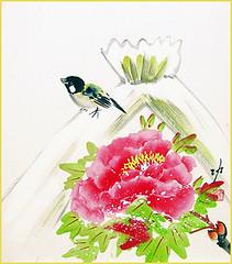 Cotton-rose and tit (Japanese Flower and Bird Art) Tags: flower tree peony paeonia suffruticosa paeoniaceae bird tit paridae isao akita nihonga shikishi japan japanese art readercollection
