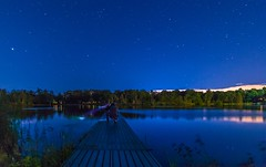 Searching for a lake monster (mangospoops) Tags: calm trees light night dock park water wate lake canon nightphotography outdoors scenery sky stars