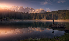 Carezza´s sunrise (Iván F.) Tags: italy dolomiti mountain lake reflection water sunrise amanecer landscape landscapes sony a7r explore explorer exploration nature naturepics awesome colour sun light