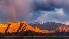 Fisher Towers - Moab - Utah (~ Floydian ~ ) Tags: henkmeijer floydian photography fishertowers moab utah lasalmountains rainbow sunset evening dusk stormyweather unitedstates american southwest desert landscape landscapes leefilters canon canon5dmarkiv
