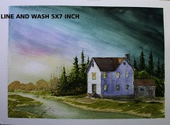 Farm at dusk line and wash Nil Rocha Artist (nilrochaart) Tags: video youtube urban sketch drawing wash easy tutorial watercolor art lesson beginners architecture youtubers line pen winsor newton unipin nil rocha nilrochaart