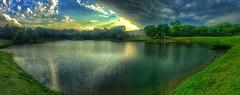 The storm's edge (Pejasar) Tags: weather pano panoramic tulsa minshallpark sunset lake water edge storm clouds
