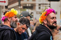 TAKING PRIDE IN THEIR HEADGEAR (panache2620) Tags: minneapolis partners lgbtq men colorful monochrome eos canon70d canon minnesota candiid street streetphotography urban city parade spectators twincities twincitiespride2017