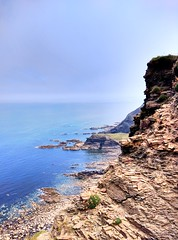 Edge (Rob Hall -) Tags: beauty view high height tide waves water calm blue shore shoreline cliff sea rockface rock