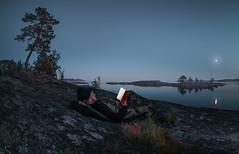 I. (happyphotons) Tags: white night sea bay finland russia fishai sociopath landscape mirror moon rocks stones glacial selfie