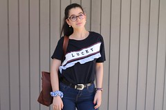Lucky T-Shirt With Tote Bag (Free For Commercial Use (FFC)) Tags: mahi leather design bag fashion inspiration collection fullgrain brass fittings vintage unisex tote brown luck girl woman free freedownload freeforcommercialuse creativecommons creativecommonsattribution fasionblogger leatherbag femalefashion ladiesfashion lucytshirt