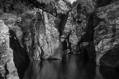 Narrow river (dtra) Tags: blackandwhite fa31 flowingwater k1 longexposure monochrome motatipugorge multiexposure newzealand reflection rock wanaka water