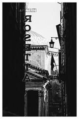 Rome's Way (Thomas Listl) Tags: thomaslistl blackandwhite noiretblanc biancoenegro rome roma rom street trattoria pantheon antique dark light architecture urban italy imageborder mood
