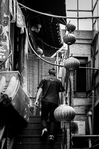 qingdaoshi shandongsheng chine cn qingdao old traditional ancien history historical historic lantern stairs up back backside cable electric electricity dirty inside indoor staff waiter climb climbing upstairs man movement day sun sunny shadow windows glass candid canon eos 100d 50mm prime street urban city people bw bnw black white blackwhite blackandwhite monochrome naturallight natural light asia asian china chinese shandong