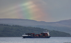 The container ship Endeavour, IMO 9312195; Firth of Clyde, Scotland (Michael Leek Photography) Tags: scotland ship workingboat workboat merchantship rainbow firthofclyde mountains light rain weather containership vessel merchantnavy cowal argyllandbute michaelleek michaelleekphotography scottishlandscapes scottishcoastline scotlandslandscapes westcoastofscotland dunoon