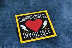 Sticker: Compassion is Invincible (Vegan Butterfly) Tags: vegan veganism animal rights sticker stickers herbivore clothing herbivoreclothingcom compassion invincible heart love justice oppression speciesism activist activism lightning bolt decal