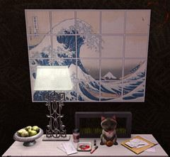 Wave (Yin Wasabii) Tags: secondlife second life cat lucky makeup keys key holder coins mail coffee great wave pears lamp table plant art corner asian culture