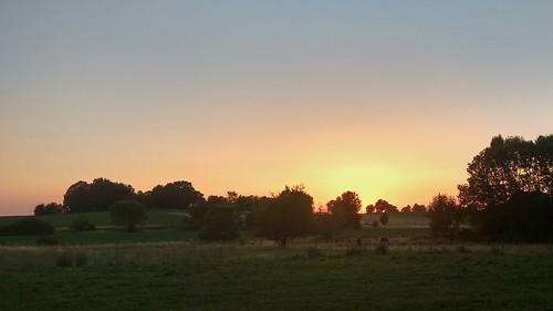 Blick auf Sonnenuntergang von der Terrasse (Jordan's Untermühle)
