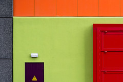 Red, green, orange, grey and purple (on Explore) (Jan van der Wolf) Tags: map171310v wall muur door deur colors colours panels kleuren composition compositie red redrule orange green groen rood oranje grey geometry