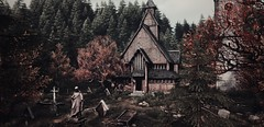"""""""Cemetery"""" (L1netty) Tags: thevanishingofethancarterredux games gaming screenshot reshade trees chapel autumn pc theastronauts outdoor 4k color videogame"""