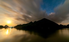 Moonlight (=Heo Ngốc=) Tags: river sea reflection ocean natural nature night water silence sky space stars moonlight color cloud dark dramatic astronomy background beautiful black lunar moon landscape lake