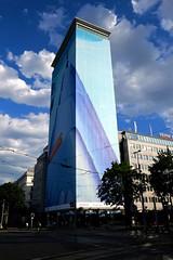 Ringturm_2017_03 (rhomboederrippel) Tags: rhomboederrippel fujifilm xe1 june 2017 austria vienna 1bezirk 1stdistrict ringturm weitblick skyscraper clouds art cover sunny
