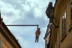 Man Hanging Out by David Cerny (emptyseas) Tags: stare mesto old town emptyseas nikon d800 prague czech republic workman roof
