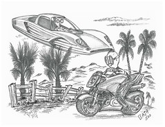 Baja 500 (rod1691) Tags: bw scifi grey concept custom car retro space hotrod drawing pencil h2 hb original story fantasy funny tale automotive art illistration greyscale moonpies
