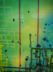 Runs 3 (S's images) Tags: littlehampton way out there back garden paint runs abstracts yellow green blue