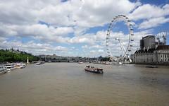 London Eye (p.mathias) Tags: london river thames wheel water boat boats bridge overcast england city europe uk cloud clouds cloudy