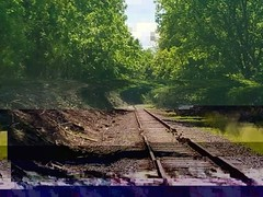 where are you (iamlewolf) Tags: glitchy glitchart trippy glitch weird surreal cool traintracks railroad railroadtracks trees outside outdoors pixel pixelated