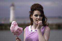 Candy Floss (dilys_thompson) Tags: candyfloss girl pink lighthouse perchrock fuji fujifilm sixties retro vintage beehivehairdo seaside coast candy