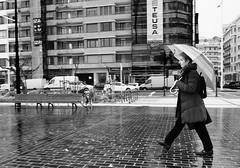 Sumida en sus pensamientos (no sabemos cómo llamarnos) Tags: streetphotography street stranger photoderue urbanphotography urban umbrella paraguas parapluie fotourbana fotocallejera calle rain lluvia rayas pluie woman femme mujer