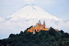 The guardian and the guarded (Rod Anzaldua) Tags: popocatepetl volcan volcano iglesa church pyramid piramide cholula puebla mexico arquitectura architecture landscape paisaje