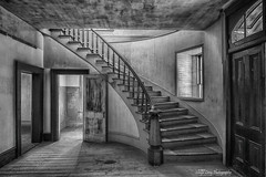 Meade Hotel-sonya lang (Sonya Lang Photography) Tags: bannack meadehotel montana bannister staircase light blackandwhite