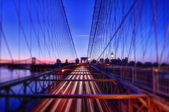 Brooklyn Bridge (mudpig) Tags: lighttrails traffictrails nyc newyorkcity bridge highway night longexposure sunrise river brooklyn manhattan hdr