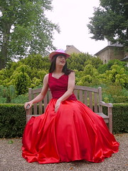 Red ball gown (Paula Satijn) Tags: lady girl dress gown ballgown skirt satin lace red feminine chic outside parl bench silk shiny hot hat glamorous elegance class grace style