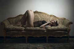 (riccardo.fissore) Tags: lie lay laying bed sofa vintage naked nude erotic erotism seethrough nipples model modella suicidegirl suicide hopeful set photoshoot italiangirl italian legs sexy