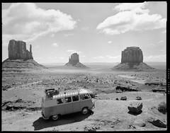 Joyce (FauxRiehl) Tags: 4x5 largeformat monumentvalley vw t2 transporter bus 1961 kodak tmx black white landscape film