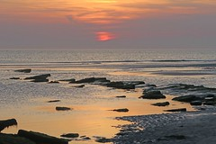 Calm sunset at low tide in Ambleteuse