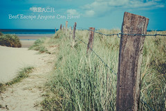 B.E.A.C.H. (Peter Jaspers (sorry less time to comment)) Tags: frompeterj© 2017 olympus zuiko omd em10 1240mm28 beach plage text france french normandy normandie cotentin manche hff fence happyfencefriday utahbeach summer seashore seascape blue sky clouds sand sable