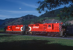 Okanagan Express CP 8836 and 8839 at Princeton BC on May  23, 1983 (railfan 44) Tags: canadianpacific