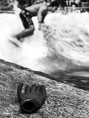 Surfer's glove (axeleckenberger) Tags: bavaria bayern eisbach eisbachsurfer eisbachwelle germany illfordhp5 minga munich münchen surfen xequalspresets blackandwhite glove person stilllife surfborard surfer surfing surfphotography water de