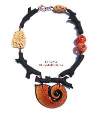 Polymer clay sea necklace (Luana Sgammeglia) Tags: necklace polymerclay fimo handmade jewelry sea seashell coral black orange girl colgante arcilla polimerica style oneofakind color woman
