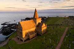 Sunset at St Monans Auld Kirk, Fife (iancowe) Tags: stmonans st monans monance fife auldkirk auld kirk old church medieval eastneuk sunset evening graveyard sea cemetery firthofforth kingdom scotland scottish