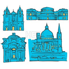 Valletta, Malta, Colored Landmarks (Hebstreits) Tags: abstract archaeology art background blue canvas capital card cathedral church color colors destination europe facade greeting illustration infographic italy malta monument museum national night pen presentation print shipwreck sketch stcatherine stpaul's tourism tourist travel trip urban valletta vector wall yellow