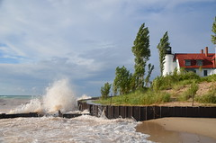 Point Bestie (naturesights) Tags: lighthouse michigan storm waves lakes greatlakes nature wind