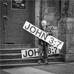 Independent, handmade, Scottish (John Riper) Tags: johnriper street photography straatfotografie square vierkant bw black white zwartwit mono monochrome edinburgh scotland candid john riper xt1 fuji 18135 royal mile evangelist 37 bible verse man church religious
