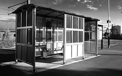 Manors railway station platform - Newcastle upon Tyne, UK (harrytaylor6) Tags: shelter newcastle urban monochrome railway platform streetscape tonal texture