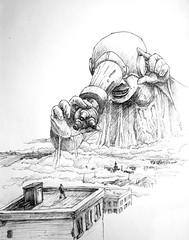 Perspective (Marcos Telias) Tags: bolígrafo ballpoint dibujo city clouds giant gigante microscopio microscope art drawing illustration ilustración sketch boceto bosquejo arte artista artist pen lápiz fantasy