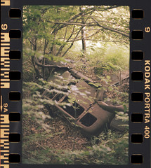 Lost in forest (Hugo Bernatas) Tags: forest lost old car war urbex analog film 35mm kodak portra portra400 kodakfilm nature nocrop color canon ae1 travel abandoned